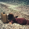 Nancy and Me, Beach, Samos with suitcase pinhole camera 1999