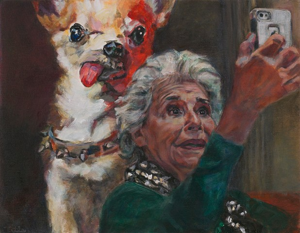 Selfie With Dog Painting