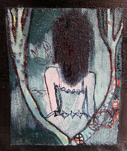 spooky girl, feminine, forest, stacy novak, room decor, large wall hanging, girl art