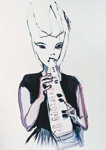 Stacynovakart line drawn bunny and melodica