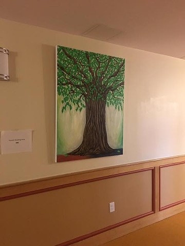 "The painting ""Bodhi Tree"", installed at new renovated residence in Roxbury, Massachusetts."