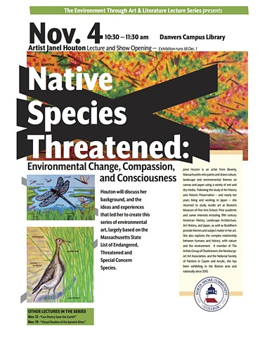Flyer for talk and exhibit at North Shore Community College, for Native Species Threatened, 2015