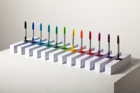 conceptual art with paper and markers, sculpture