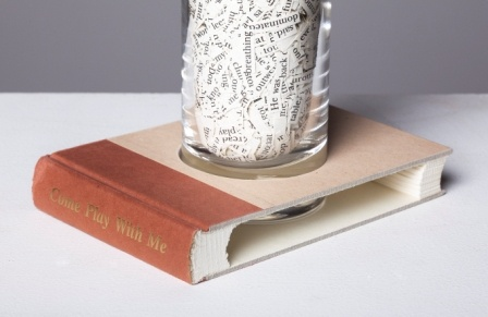 conceptual art with books and words, sculpture