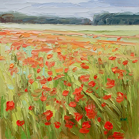 landscape, English landscapes, suffolk landscapes, palette knife landscapes, impasto painting, contemporary landscapes, poppy fields