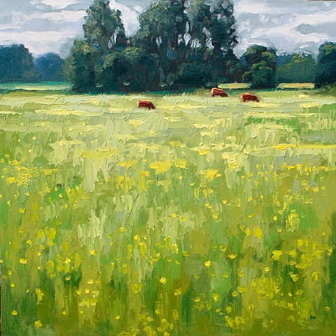 landscape, cows, sudbury water meadows, English landscapes, suffolk landscapes, palette knife landscapes, impasto painting, contemporary landscapes, seascape, marine paintings,