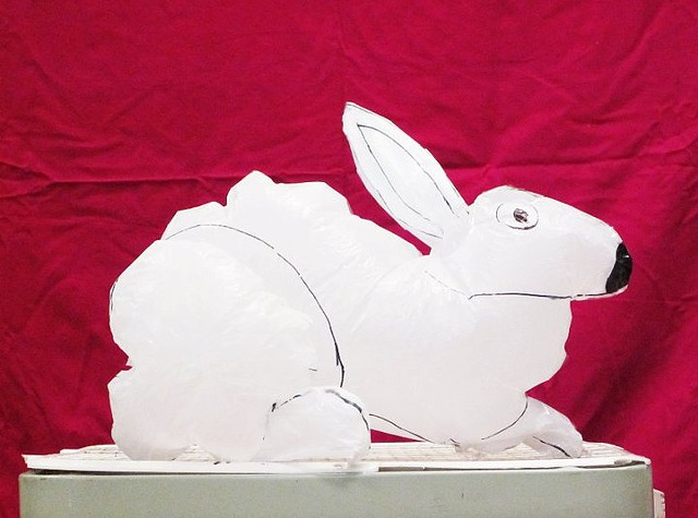 Student Work (bunny rabbit) Inflatable Sculpture, made from trash