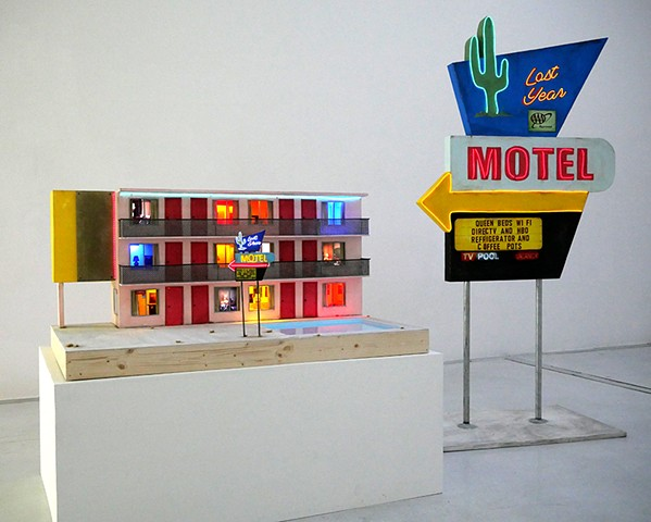 lost year motel, tracey snelling, sculpture, mixed media, video art