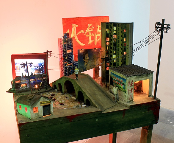 Zhujiashanghai mixed media sculpture with video