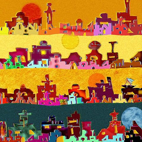digital print based on Delhi, India skylines