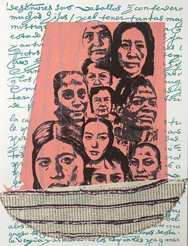 boat, social commentary, women history, generations, women, migration, equality, shared stories, latina art.