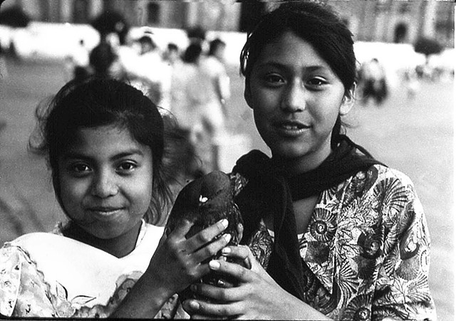 girls, Mexico city, dove, peace, portrait, Sandra C Fernandez, silver Gelatin Print, Photograph