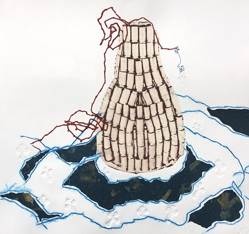 A Lachrymatory bottle, oceans, blind embossment, chine colle, tears, Sandra C Fernandez, latinx prints, contemporary printmaking, mixed media printmaking, suffering, bullet cases.