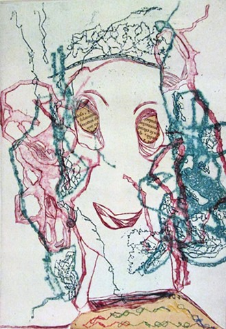 la loca, woman, crazy woman, etching