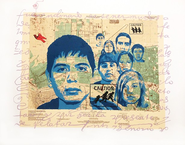 dreamers, DACA, undocumented, children from central and South America, soñadores, education for undocumented, illegals, mojados, wetbacks, Sandra c Fernandez,silkscreen, fine art