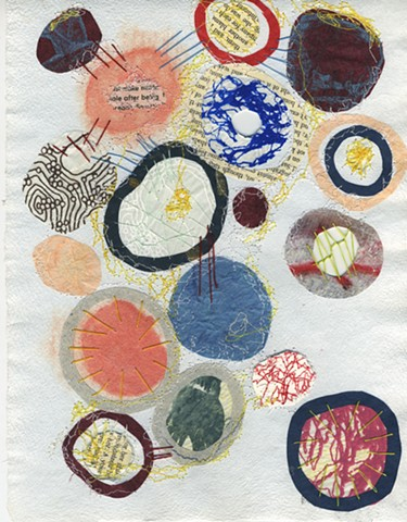 nucleus, cellular memories, mixed media printmaking, sewing, contemporary printmaking, sandra c Fernandez, sandra Fernandez