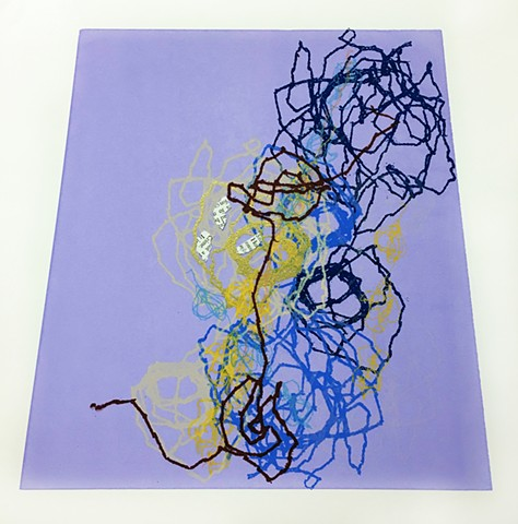 thread drawings, silkscreen, line, stitched lines, sewing, sandra Fernandez, contemporary printmaking