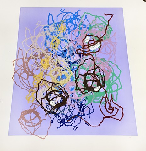 thread drawings, silkscreen, line, stitched lines, sewing, sandra Fernandez, contemporary printmakinga