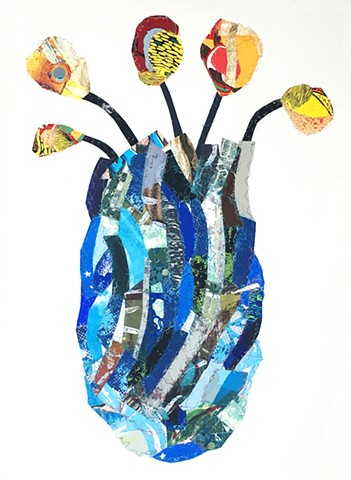 sandra c Fernandez, work on paper, Latino, whimsical art, contemporary prints, sewing on paper,