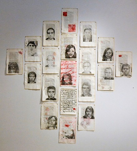 dreamers, DACA, faith, fairness, children brought by parents to the USA, legal, migrants, immigrants, arte latinx, latinx art, codice mendoza, cross, work on paper, prints, printmaking, lithography, collage, chine Cole, SAAM, Sandra C. Fernandez