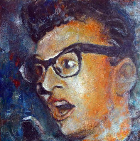 Buddy Holly Encaustic painting Texas