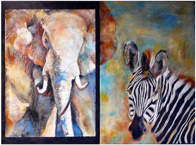 Animal art portraits painting encaustic patty Rooney