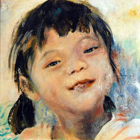 Children's unique portrait painting encaustic