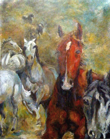 Equestrian Horse painting encaustic commission patty Rooney Dallas Texas