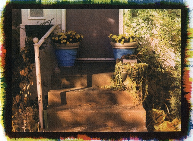 Stoop with Blue Pots