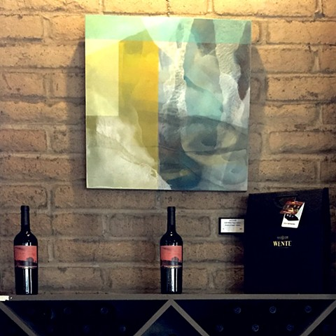 Quiet Within Poppy Infusion painting on Wente wall