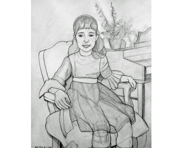 Drawing of a young girl