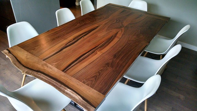 solid walnut dining table