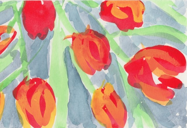 A Watercolour depicting Orange Tulips.
