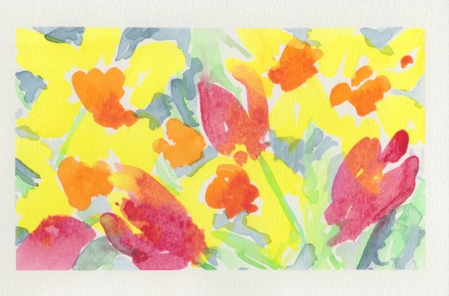 Joyful colours of flowers in the spring garden.