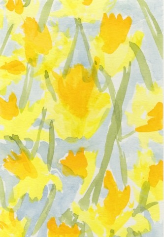 A Watercolour depicting Daffodils in Spring.