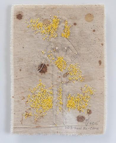 Ziejka art, American Woman, textile art, fiber art