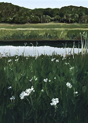 White flowers on an evening river walk SOLD