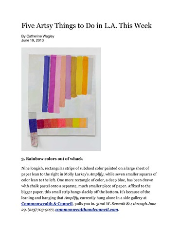 The LA Weekly, 5 Arty Things To Do This Week, Catherine Wagley, June 19, 2013