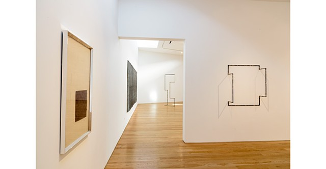"""BLINDSIGHT"" installation view at Samuel Freeman, with work by Emilie Halpern and Jenene Nagy"