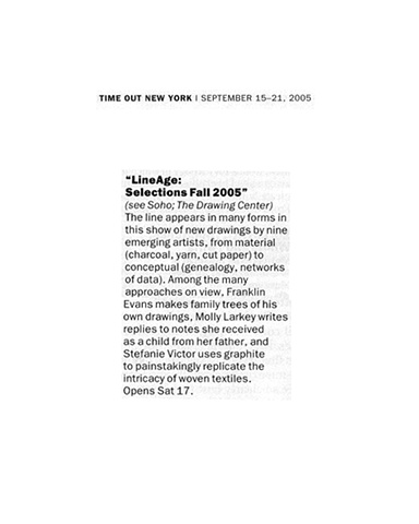 Time Out New York, LineAge Selections Fall 2005, September 15-21, 2005