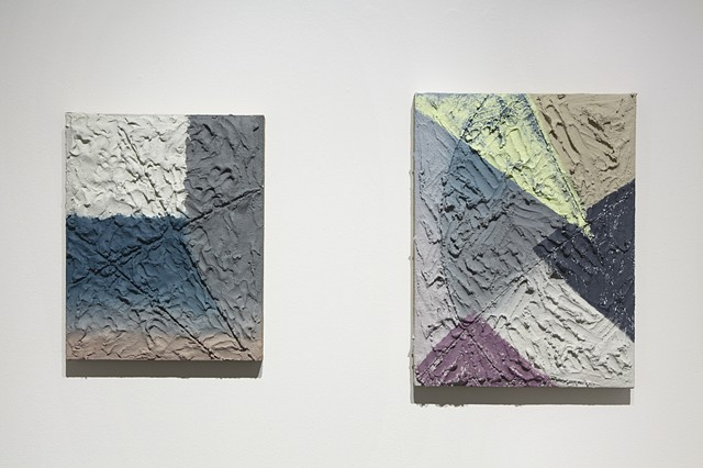 "Left: ""Changes Hourly""  2014 Acrylic and mixed media on burlap and panel 20"" x 16"" Right: ""Forces Of"" 2014 Acrylic and mixed media on burlap and panel 24"" x 18"""