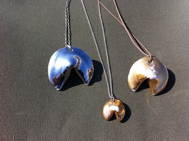 gold fortune cookie necklaces