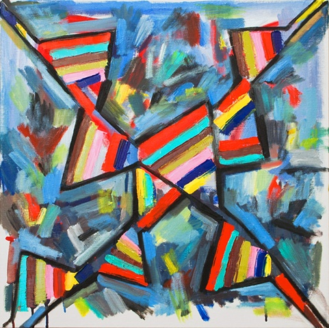 abstract painting, stripes, geometric, X, flags