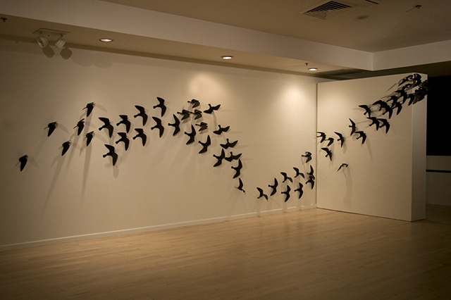 Twice : Migration installed at Friesen Gallery