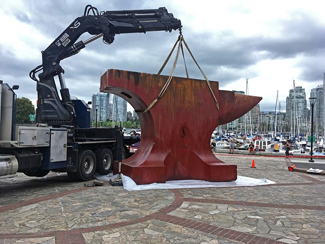 Acoustic Anvil (A Small Weight to Forge the Sea),  installation at Leg in Boot Square, Vancouver BC