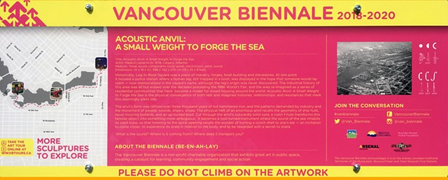 Acoustic Anvil (A Small Weight to Forge the Sea), Vancouver Biennale 2018 - 2020