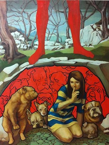 shush, dogs, legs, red, imagined landscape