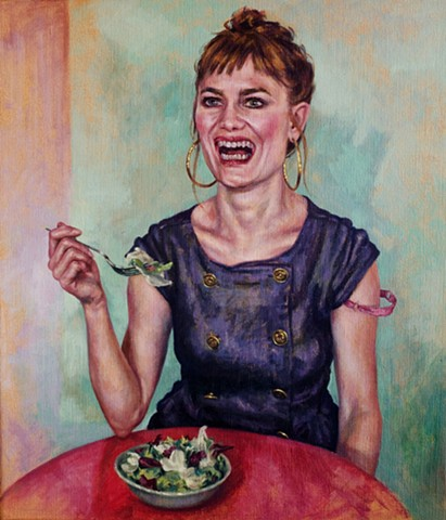 Laughing While Eating Salad  A3 Limited Edition Giclee Print