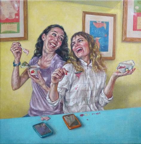 Laughing While Eating Yoghurt