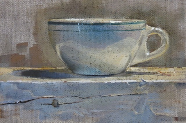 oil painting, still life, coffee cup